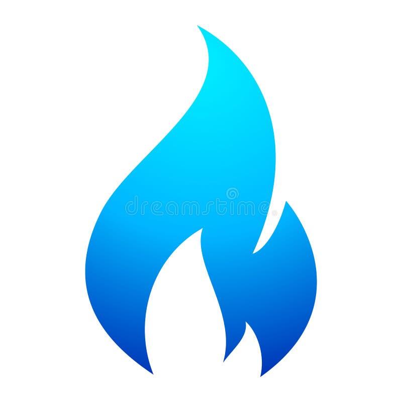 Het blauwe pictogram van de brandvlam royalty-vrije illustratie