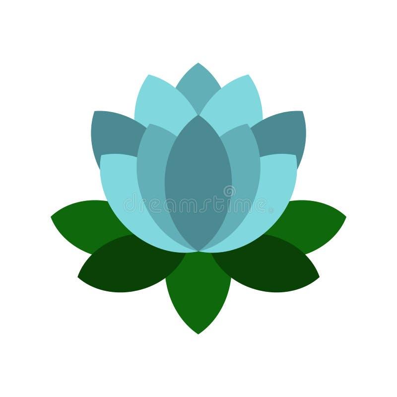 Het blauwe pictogram van de lotusbloembloem, vlakke stijl vector illustratie