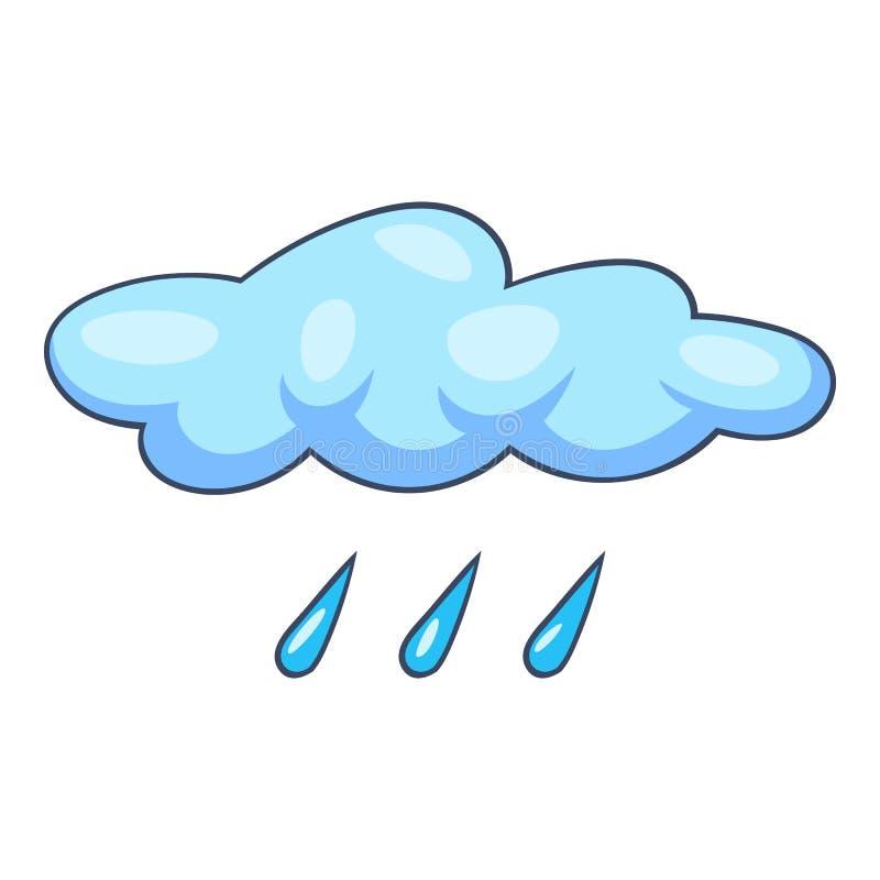 Het blauwe pictogram van de wolkenregen, beeldverhaalstijl royalty-vrije illustratie