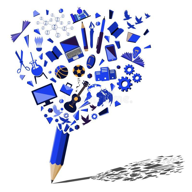 Het blauwe potlood breken met concept van onderwijs en het bedrijfssymbolen royalty-vrije illustratie