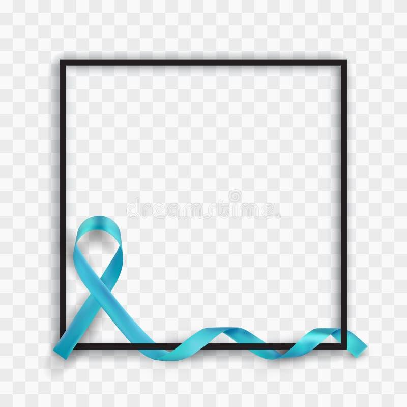 Het blauwe Prostate Symbolische Lint van de Kankervoorlichting vector illustratie