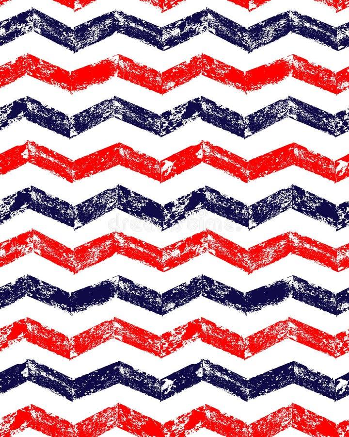 Het blauwe rode en witte geometrische naadloze patroon van de grungechevron, vector stock illustratie
