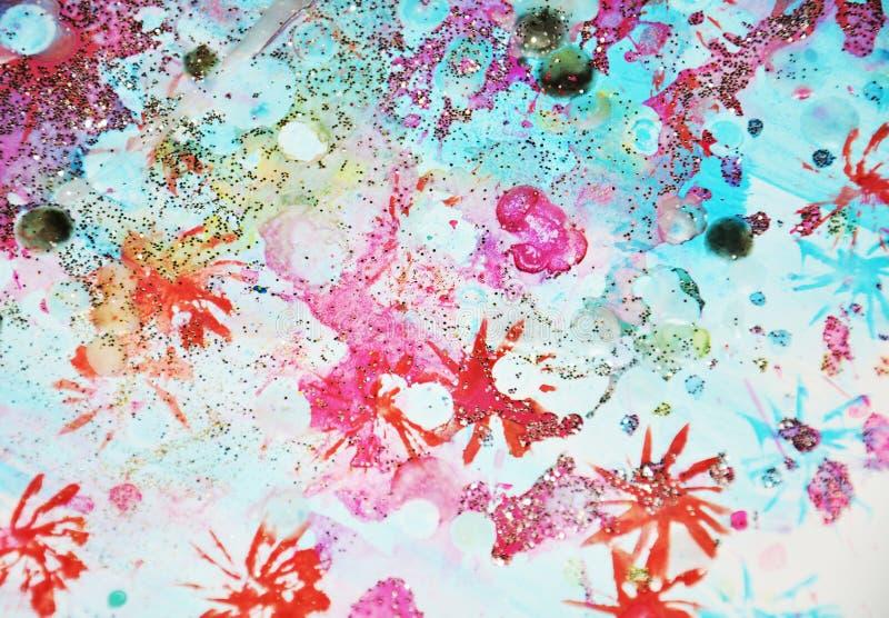 Het blauwe rood speelt kleurrijke het fonkelen liines, abstracte achtergrond en textuur mee royalty-vrije illustratie