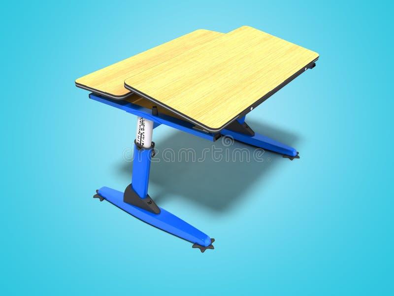 Het blauwe school houten bureau met shuhlady voor notitieboekjes en 3d de pennen geven op blauwe achtergrond met schaduw terug stock illustratie