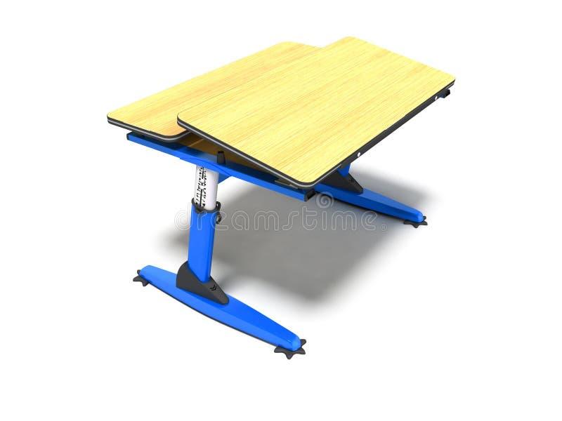 Het blauwe school houten bureau met shuhlady voor notitieboekjes en 3d de pennen geven op witte achtergrond met schaduw terug stock illustratie