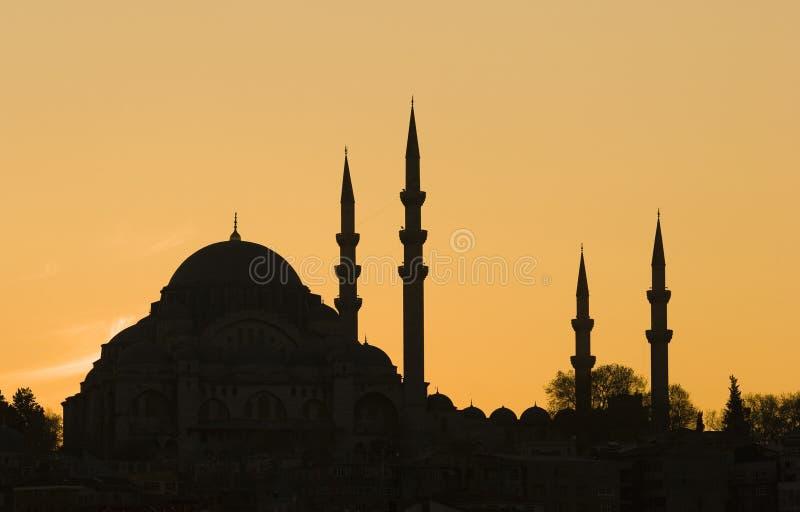Het blauwe Silhouet van de Moskee stock afbeeldingen