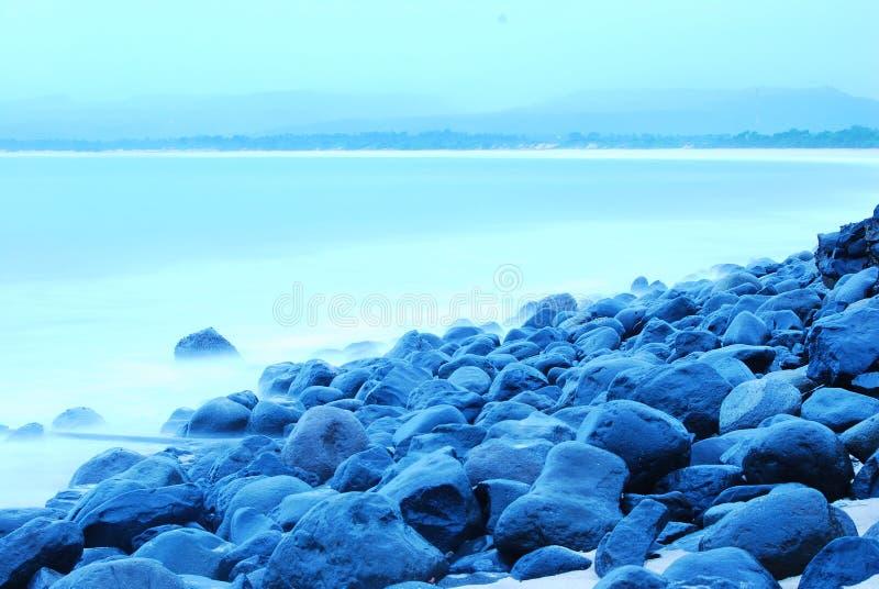 Het blauwe Strand van de Stemming stock fotografie