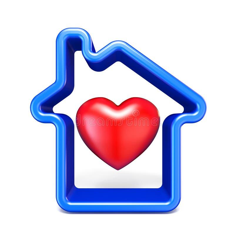 Het blauwe teken van het huisoverzicht met rood 3D hart vector illustratie