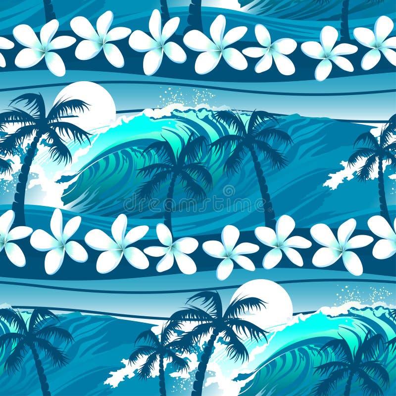Het blauwe tropische surfen met palmen naadloos patroon stock illustratie