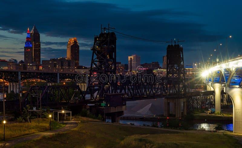 Het blauwe uur van Cleveland royalty-vrije stock afbeelding