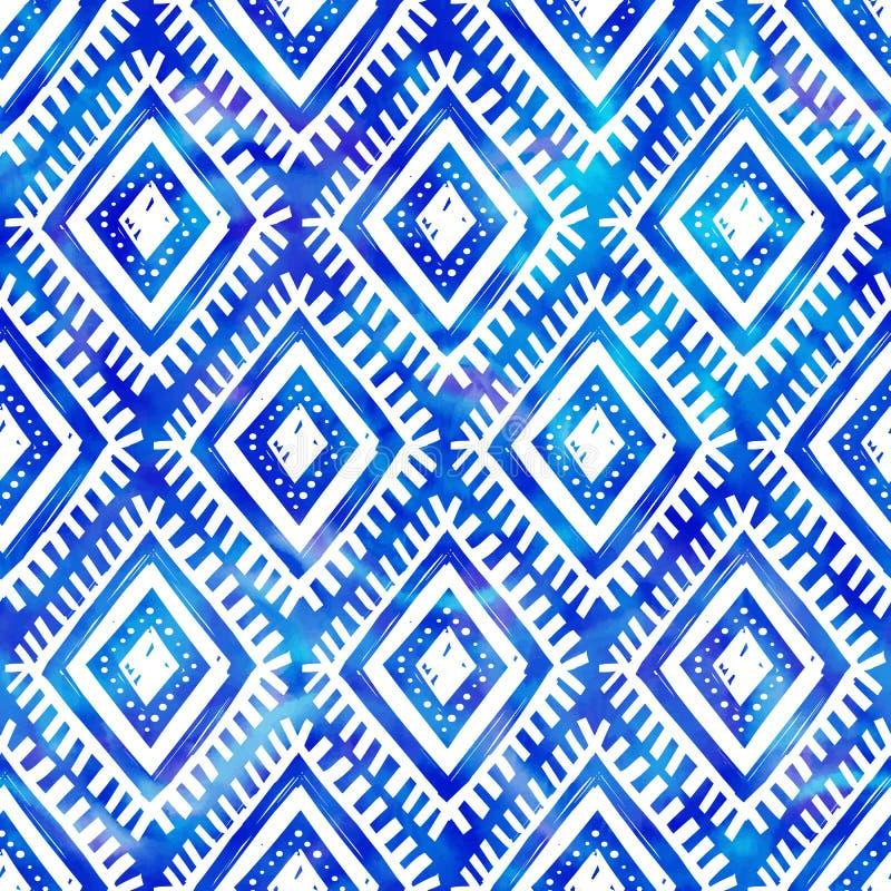Het blauwe van de de kleuren stammenstijl van de waterverfindigo vector naadloze patroon vector illustratie