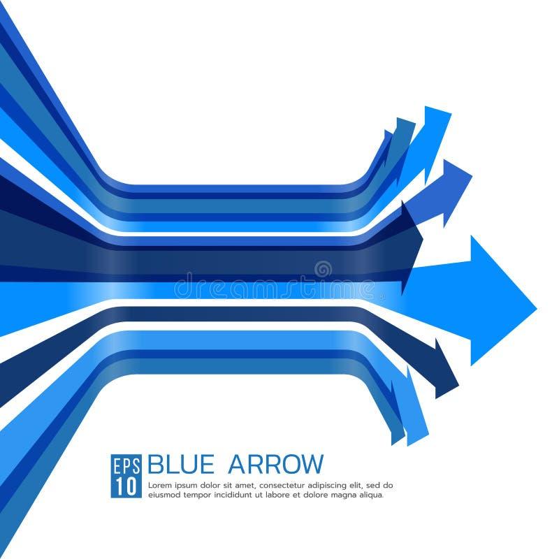 Het blauwe van de het perspectiefkromme van de pijllijn ontwerp van de de vectorkunst stock illustratie