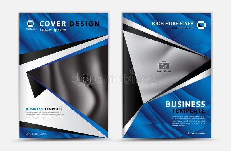 Het blauwe vectorontwerp van het dekkingsmalplaatje, brochurevlieger, jaarverslag, mgazineadvertentie, reclame, de lay-out van de royalty-vrije illustratie