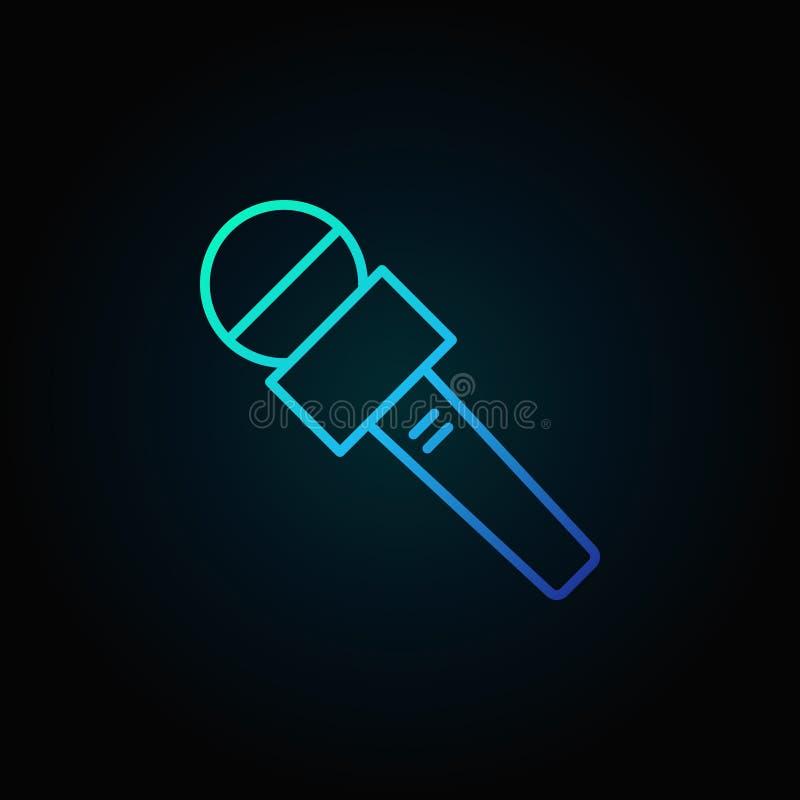 Het blauwe vectorpictogram van de nieuwsmicrofoon op donkere achtergrond royalty-vrije illustratie