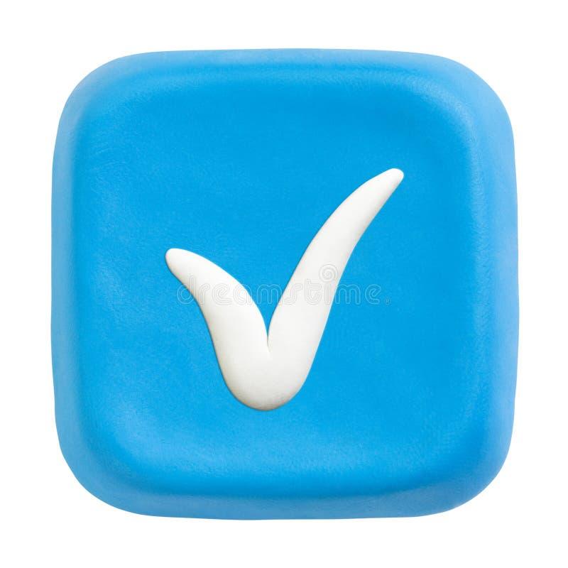Het blauwe vierkant controleerde sleutel. Het knippen van wegen royalty-vrije stock afbeelding