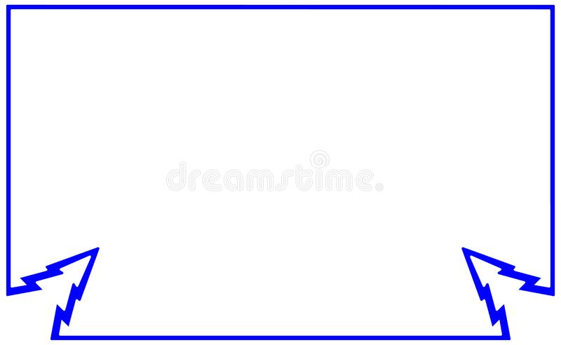 Het blauwe vlakke kader van het steekproefsilhouet met de spar van het hoekelement De boomillustratie van nieuwjaarkerstmis Grens vector illustratie