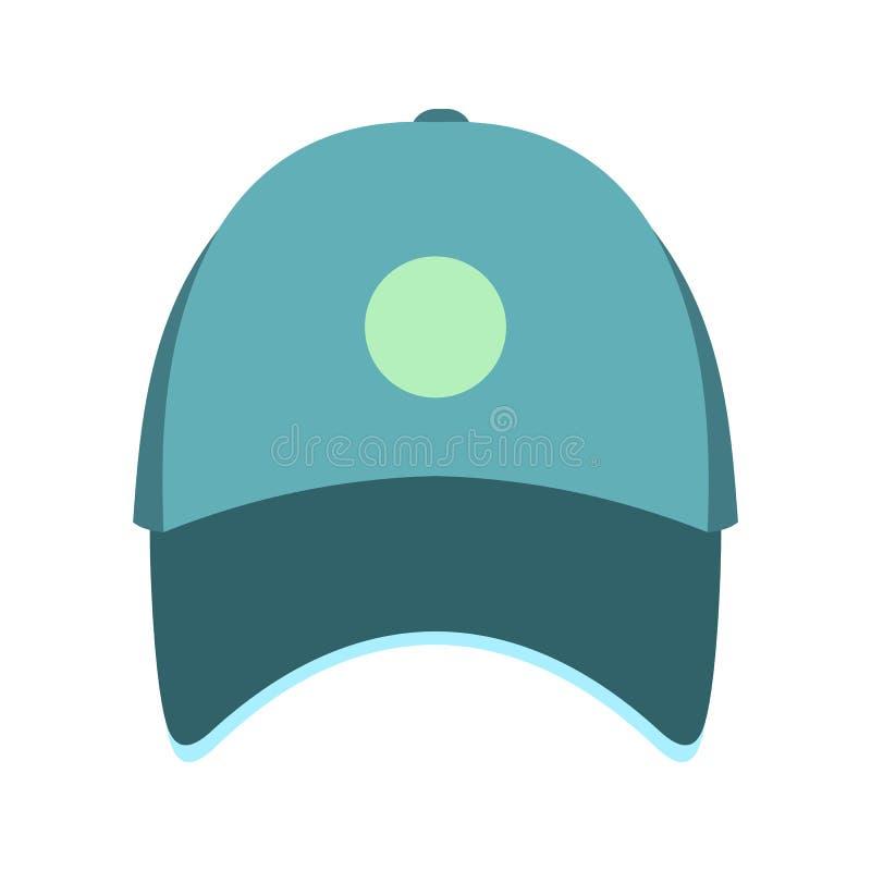 Het blauwe vlakke pictogram van de honkbalhoed vector illustratie