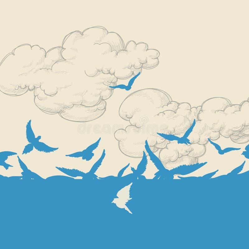 Het blauwe vogels vliegen stock illustratie