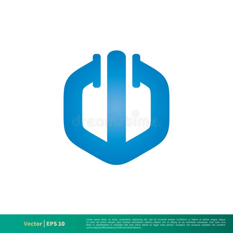 Het blauwe w-Pictogram Vectorlogo template illustration design van de Brievenpijp Vectoreps 10 royalty-vrije illustratie