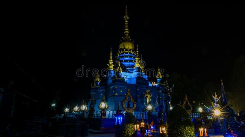 Het blauwe Weergeven van de Tempelnacht royalty-vrije stock afbeeldingen