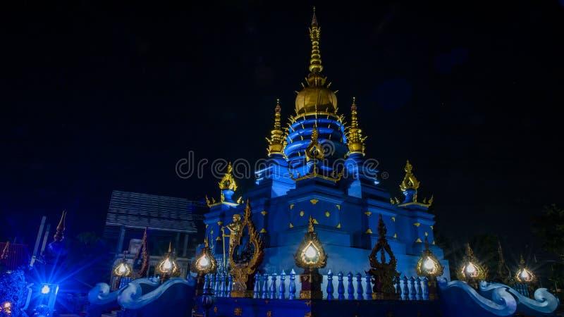 Het blauwe Weergeven van de Tempelnacht stock foto