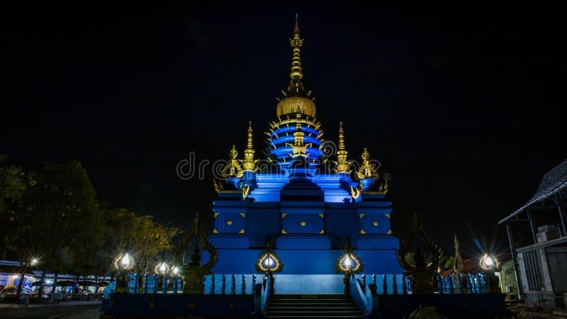 Het blauwe Weergeven van de Tempelnacht stock fotografie