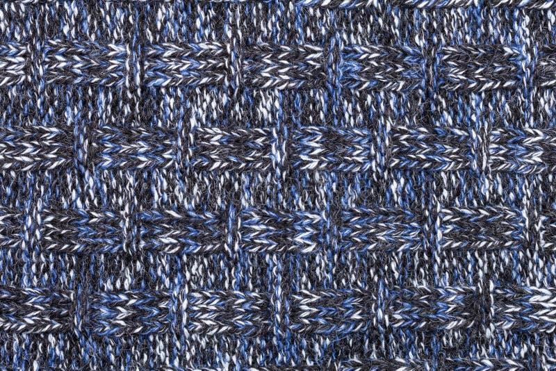 Het blauwe witte zwarte gebreide melange patroon van de stoffendoek royalty-vrije stock afbeelding