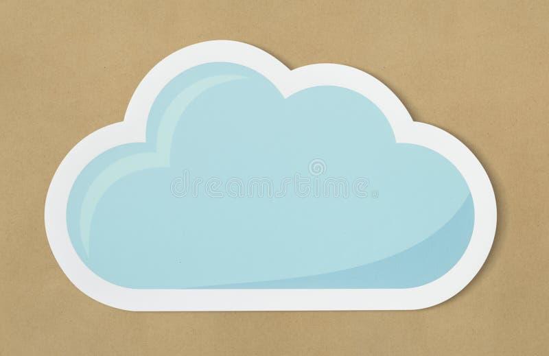 Het blauwe wolk verwijderde document ontwerp van het ambachtpictogram stock foto
