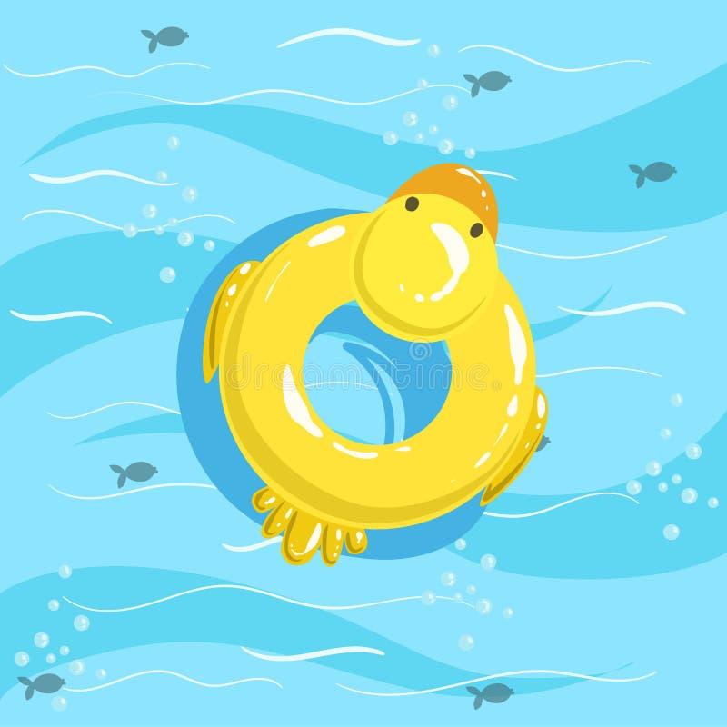 Het Blauwe Zeewater van Toy Inflatable Duck Ring With op Achtergrond royalty-vrije illustratie