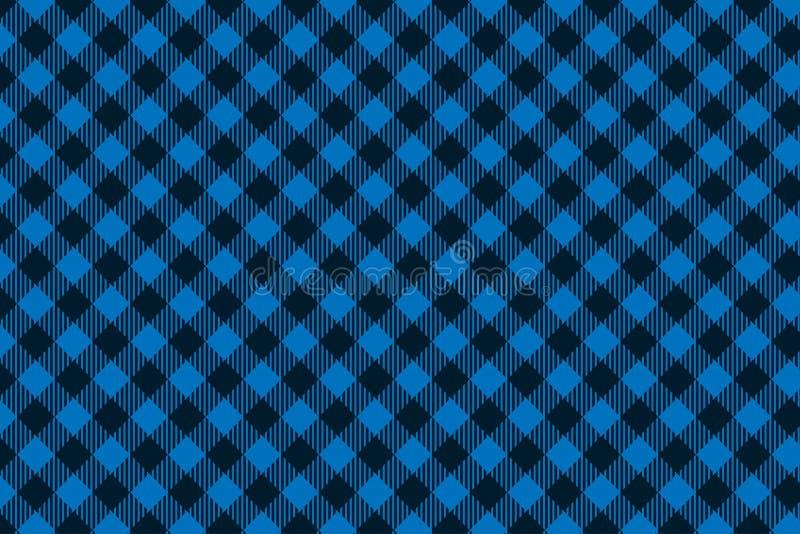 Het blauwe zwarte naadloze patroon van de Houthakkersplaid stock illustratie