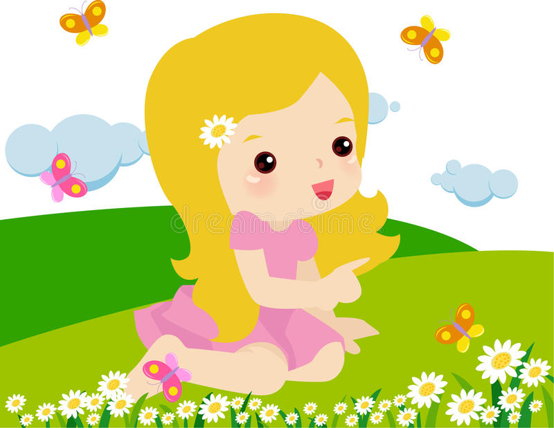 Het blije jong geitje spelen. Gelukkige kinderjaren stock illustratie