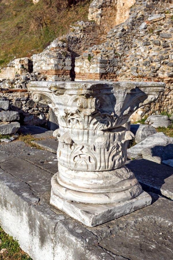 Het blijven van kolommen op het archeologische gebied van Philippi, Griekenland royalty-vrije stock afbeeldingen