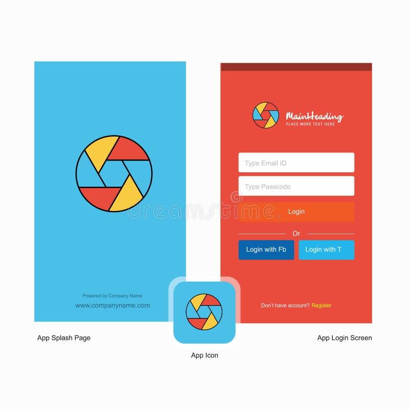 Het blindwelkomstscherm van de bedrijfcamera en Login Paginaontwerp met Embleemmalplaatje Mobiel Online Bedrijfsmalplaatje vector illustratie