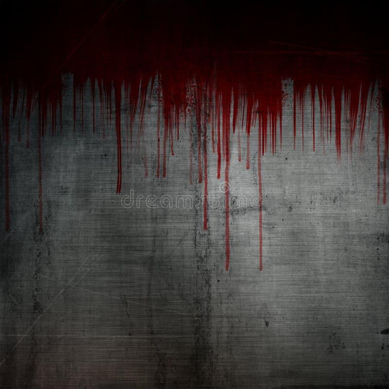 Het bloed ploetert en druppels op de achtergrond van het grungemetaal vector illustratie