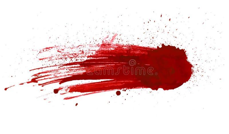 Het bloed ploetert geschilderde die vector op wit voor ontwerp wordt geïsoleerd Rode het druipen bloeddaling royalty-vrije illustratie