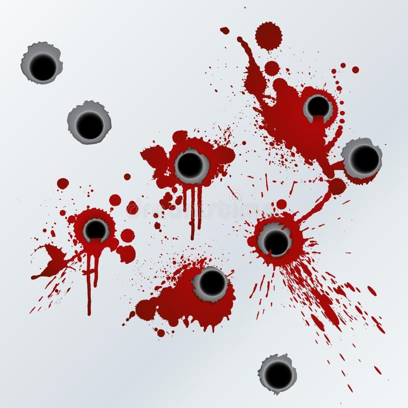 Het bloed van het revolverschot ploetert achtergrond royalty-vrije illustratie