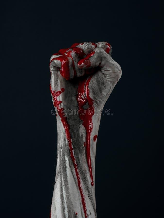 Het bloedige demon van de handzombie stock foto's