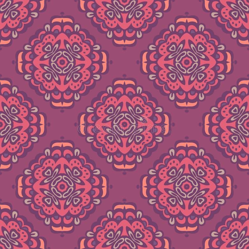 Het bloemdamast betegelde naadloos motief vectorpatroon stock illustratie