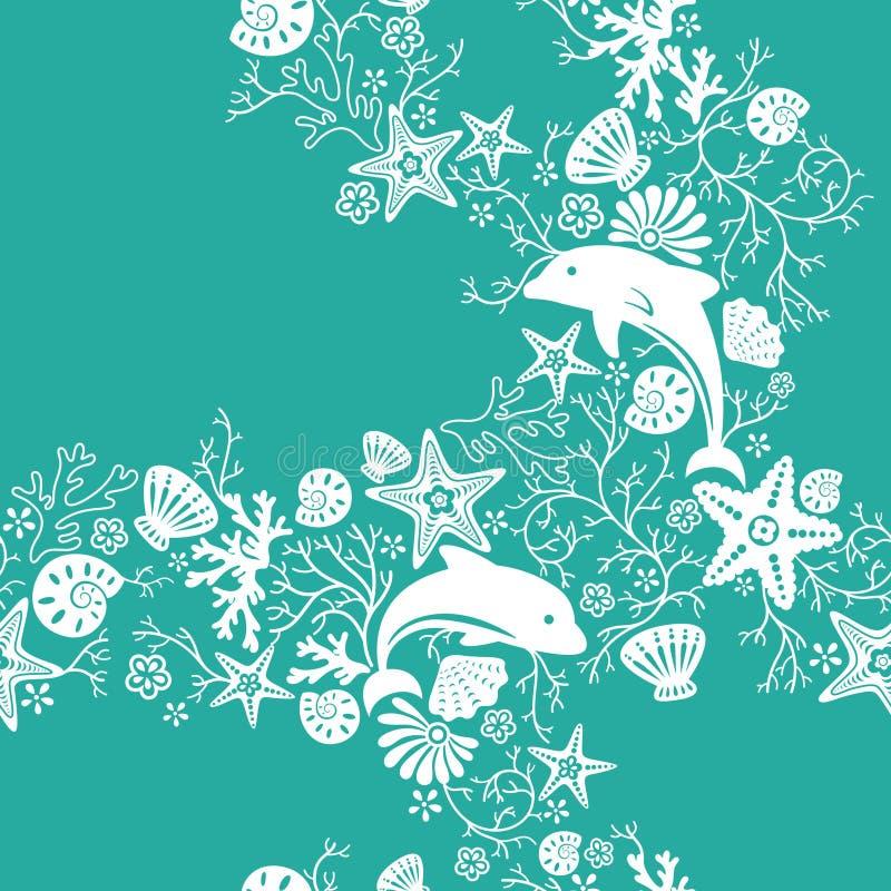 Het bloemen en Patroon van de Dolfijn royalty-vrije illustratie