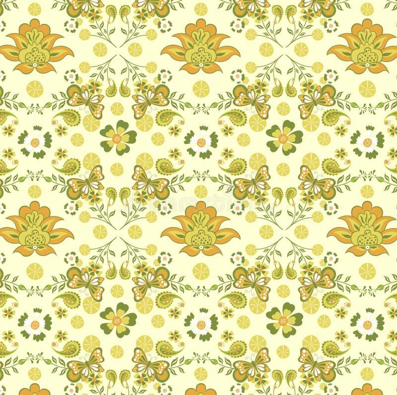 Het bloemen en Patroon van de Vlinder royalty-vrije illustratie