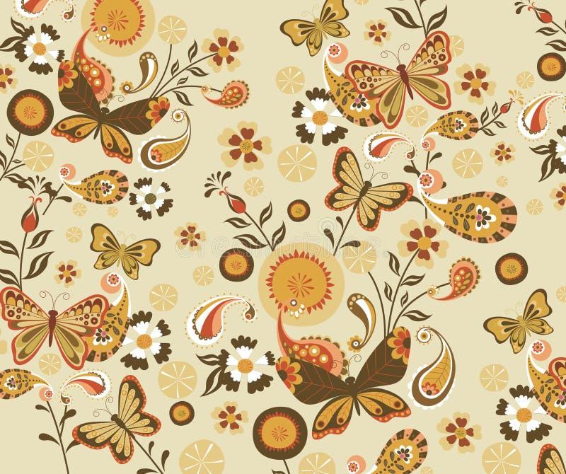 Het bloemen en Patroon van de Vlinder stock illustratie