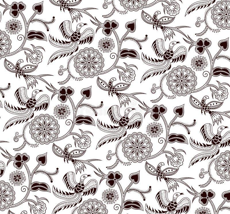 Het bloemen en Patroon van de Vogel stock illustratie