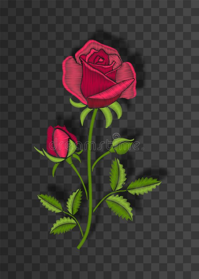 Het bloemen gestikte ornament met steek nam toe Borduurwerkbloem op transparante achtergrond met schaduw vector illustratie