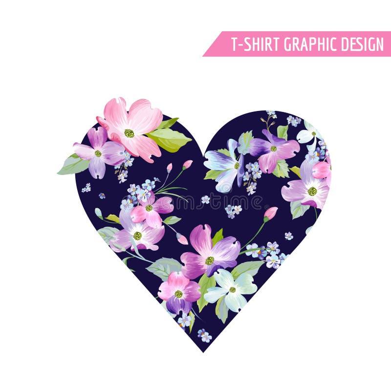 Het bloemen Grafische Ontwerp van de Hartlente met de Bloemen van de Kornoeljebloesem voor Manierdruk, T-shirt, Banner, Groetkaar royalty-vrije illustratie