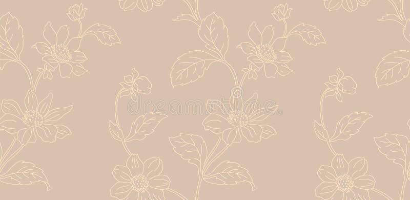 Het bloemen naadloze patroon kan voor behang, textieldruk, kaart worden gebruikt Hand getrokken eindeloze vectorillustratie van b royalty-vrije illustratie