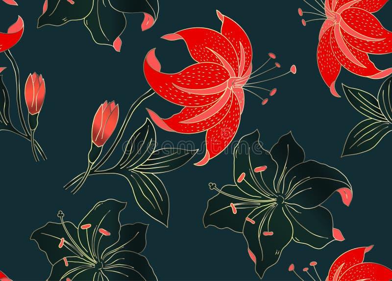 Het bloemen naadloze patroon kan voor behang, textieldruk, kaart worden gebruikt Hand getrokken vectorillustratie van bloemen vector illustratie