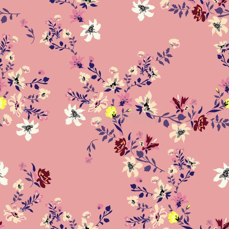 Het bloemen naadloze patroon met bloemen, vectormotieven voor stof drukt en borduurwerk stock illustratie