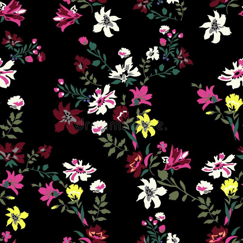 Het bloemen naadloze patroon met bloemen, vectormotieven voor stof drukt en borduurwerk vector illustratie
