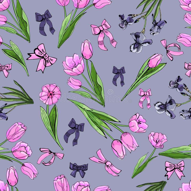 Het bloemen naadloze patroon van hand getrokken grafische en gekleurde schets met tulp en iris bloeit en gaat op violette achterg stock illustratie