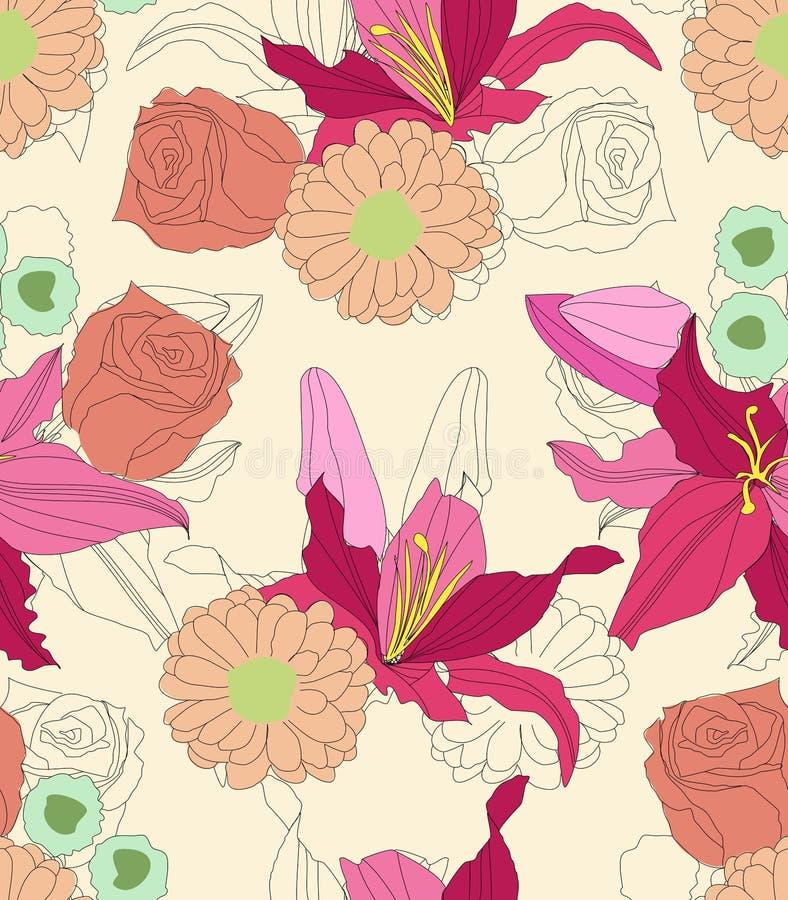 Het bloemen naadloze patroon van het lelieboeket royalty-vrije stock foto's